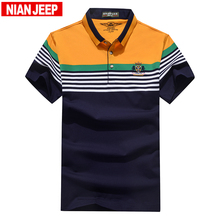 NIANJEEP High Quality Tops Tees 2017 Brand Fashion Men Striped Short Sleeve Shirt Polos Casual Breathable Men's Shirts Fit 4XL