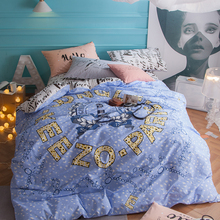 English Letters Blue Leopard Print Cartoon Bedding Sets Queen Size New Cotton Fabric Bedlinens Duvet Cover Sheet Pillow Cases(China)