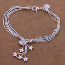 925Classic Beautiful Star Bracelet Bead Pendant Silver Plated Multilayer Chain Bracelets For Women Girl AB096-097