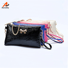 Ausuky Brand 2016 Luxury Handbags Women Bags Designer Messenger Bags Lady Chain Shoulder Bag Crocodile Bow Clutch Pouch Bags 40(China)