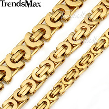 Trendsmax Customized Any Length Gold Color Byzantine Stainless Steel Necklace Boys Mens Chain Necklace Fashion Jewelry KNW47