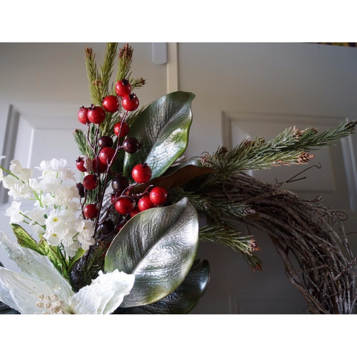 Winter Wreath, Christmas wreath, Christmas decoration, White Gold Red (3)