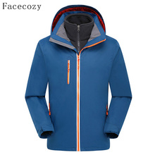 Facecozy Men's Spring Outdoor Quick Dry Hiking Softshell Jacket Breathable Front Zipper Hooded Windproof Fishing Coat