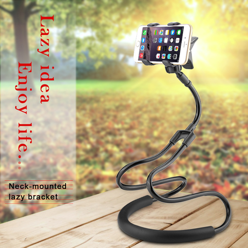 !ACCZEE Universal Long Arm Lazy BedDesktopNeck Cell Phone Stand Holder For iPhone 360 Degree Adjustable Rotate Hanging Bracket (1)