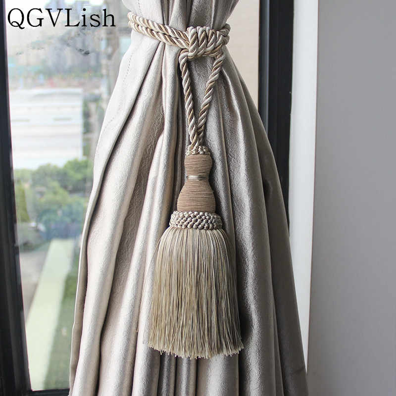 QGVLish 2Pcs Curtain Tiebacks Tassel Fringe Ropes Hanging Belt Brush Curtain Buckles Clasp Clips Curtain Accessories Tie Backs