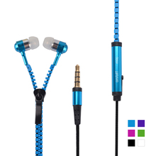 Metal Zipper Earphone 3.5mm In-Ear Wired Ear Phones With Microphone Stereo Bass Earbuds For Mobile Phone MP3 MP4 Music Players