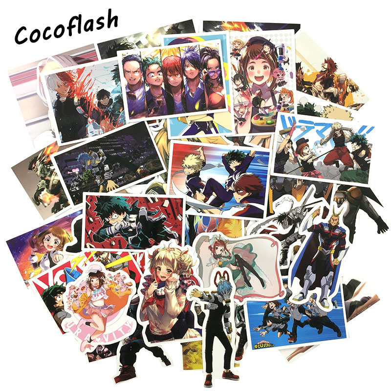 HOT 50 Pcs Anime My Hero Academy Cartoon Pvc Comic Sticker For Motorcycle Laptop Phone Cool Notebook Car Stickers Waterproof