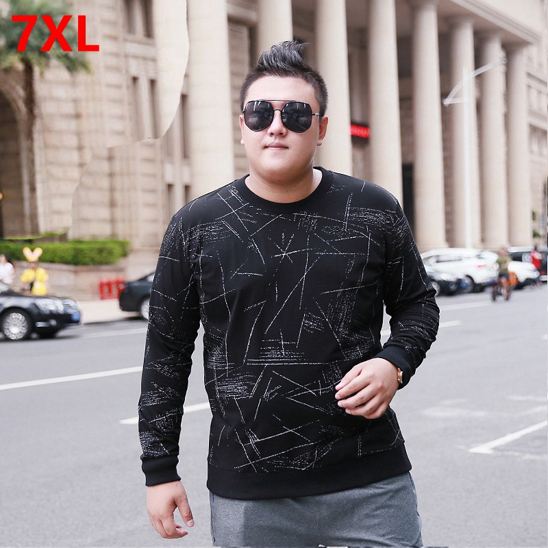 Men's long-sleeved t-shirt round neck plus fertilizer XL youth printing casual stretch autumn new big size people cotton
