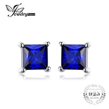 JewelryPalace Square 0.8ct Blue Created Sapphire 925 Sterling Silver Stud Earrings New for Women Gift Fine Jewelry(China)