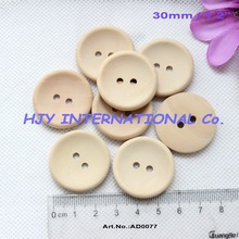 "(150pcs/lot) 30mm Unfinished custom button plain wooden button with your own message or shop name 1.2"" - AD0077(China)"