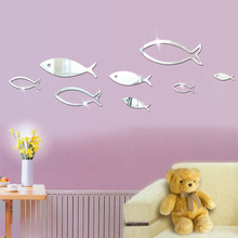 2017 Hot New Mirror Wall Stickers Underwater World Small Fish 3D Stereo Acrylic Mirror Wall Stickers Bedroom Home Art Decoration