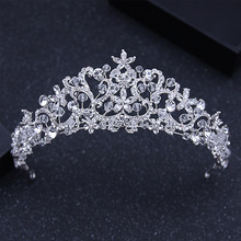2017 Sparkling Crystal Bridal Wedding Princess Crown Corona Headdress For Bride Women Clear Flower Prom Hair Jewelry Accessories