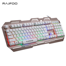 RAJFOO Rainbow Backlight English Gaming Keyboard for PC Laptop Macbook 7 Colorful LED Backlit Game Keyboard with Floating Keycap