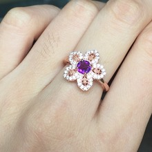 Round Amethyst Flower Rings for Women Authentic 925 Sterling Silver Jewelry Cubic Zirconia Wedding Gift for Her Aneis Feminino(China)