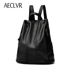 AECLVR Autumn Winter Fashion Students Backpacks Soft PU Leather Beauty School Bag For Teenager Girl Softback Ladies Bag Zipper