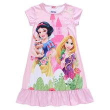 New Girls Kids Fashion 2016 Summer Elsa Dress Vintage Baby Dresses Clothing ,Anna Party Princess Dress Girl Clothes Nightgown