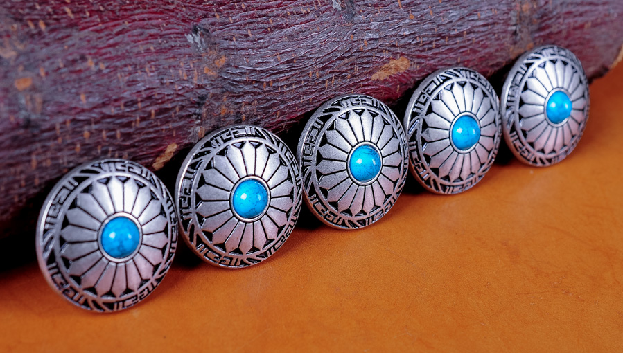 10X 30MM Western concho decor silver turquoise flower Leathercraft screw back