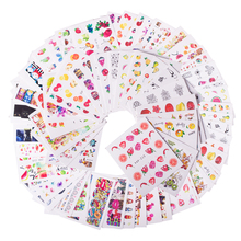 58 pcs/set Mixed Colorful Nail Sticker Fashion Fruit/Cake/Flower Water Transfer Wraps Tips Nail Decor Manicure Tool CHSTZ455-512(China)