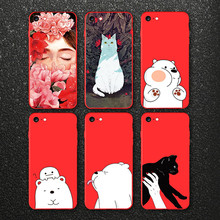 IIOZO Ultra Thin Red Case For iphone 7 7plus Cute Bear Flower Fairy Cat Phone Cases Back Full Cover for iphone 8 8plus Shell Bag(China)