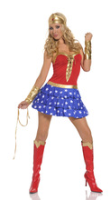 Lady New Sexy Halloween Costume Wonder Woman Cosplay Costume Girls Make Up Party Dress Role Playing Dress B-4156