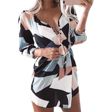 Buy 2017 Printed Dresses Casual Women Vestidos Summer Boho Beach Mini Dress Sexy V-neck Geometric Sexy Sundress Vestidos GV815 for $10.19 in AliExpress store