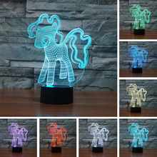 3D Creative My Little Pony Night Light Table LED Night Light Colorful Gradient Atmosphere Child Baby Friend Touch Lamps Lighting