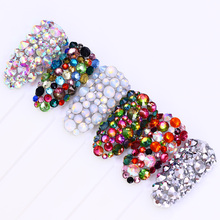 300Pcs Chameleon Opal Flame 3D Nail Decoration Flat Bottom Rhinestones Shiny Multi-size Colorful Nail Accessories UV Gel Polish