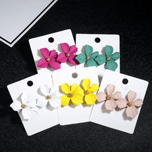 2018 Korean Style Stud Earrings For Women New Fashion Pink Red Color Flower Gift Birthday Brincos Dropshipping