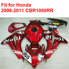100% fit for HONDA injection mold CBR1000RR fairings 2008 2009 2010 2011 red white black fairing kit CBR 1000 RR 08-11 RT10