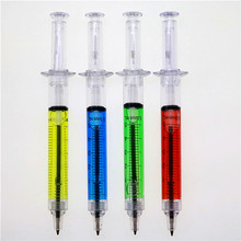 4pcs/lot Liquid Novelty Syringe Ballpoint Pen Stationery Cute Syringe Ballpoint Pen Office Supplies Child Gift