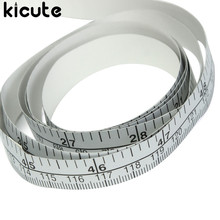 Kicute 1pc 150cm Vinyl Silver Measure Soft Ruler Tape DIY Self Adhesive Measuring Tape Ruler Sticker Home Sewing Tool Accessory