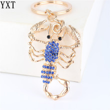 Blue Scorpion Crystal Charm Purse Handbag Car Key Ring Chain Party Wedding Birthday Creative Friend Accessories Gift(China)