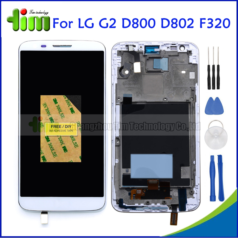 White Original For LG Optimus G2 D800 D802 F320 LCD Display Touch Screen Digitizer Assembly Replacement Parts with Frame +Tools<br><br>Aliexpress