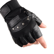 KUYOMENS Men Fingerless Gloves Wrist Women Half Finger Glove Unisex Adult Fingerless Mittens Real Genuine Leather(China)
