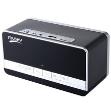 Black Mini Portable Speaker MUSKY DY-27 Bluetooth Speaker with LED Display Clock Alarm FM Radio Support AUX TF Card Playing