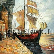Boat by the riverside,High-quality Palette knife painting for decoration,support a wholesale price(China)