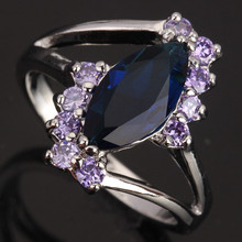 Enjoyable Marquise Maeyes Shape Blue Jewelry Cubic Zirconia 925 Sterling Silver Fashion Women's Rings Size 6 7 8 / 9 S0748