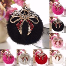 A40 New Fashion Lovely Fluffy Rabbit Fur Ball Cell Phone Car Bow Pendant Handbag Key Chain Ring Free Shipping