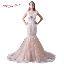 Buy NIXUANYUAN 2018 New Real Photo Champagne Tulle Wedding Dress 2017 Lace Mermaid Upper Body See Sexy vestido De noiva for $134.10 in AliExpress store
