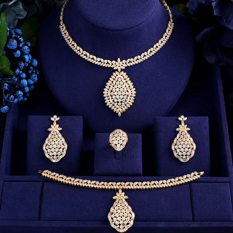 Accking BIG SIZE  Gold color Bridal Necklace Bracelet Earrings Cubic Zirconia Big Wedding Jewelry Sets party dinner
