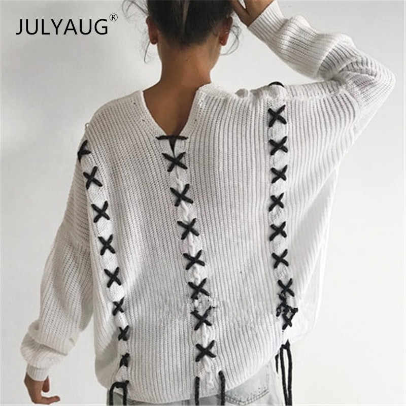 9f53c351753883 Sexy off shoulder Lace up knitted sweater Women brand white pullovers  knitwear Autumn winter 2018 new