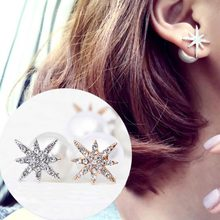 2016 Hot Sale Rhinestone Snowflake Imitation Pearl Double Sided Stud Earrings Fashion Fine Metal Geometry Star Removable Earring