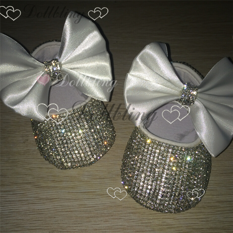 Christening Bling White bow Sequins Handmade Chain crystal baby shoes baptism ETSY supplier custom for buyer<br>