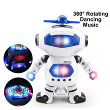 Intelligent Robot 360 Rotating Space Dancing Robot Musical Walk Lighten Electronic Robot Multicolor Christmas Birthday Gift Toys(China)
