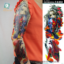 AC-013/2016 Best Quality Coolest Super Big Temporary Tattoos Fake Grisly Monster Fish Women Full Arm Body Tattoo Sticker