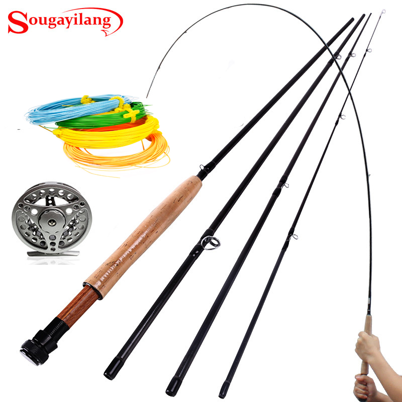 Sougayilang 2.7M (9) 5/6# 4 Sections H Fly Fishing Rod with Full Metal Fly Fishing Reel Carbon Fly Fishing Rod  Combo<br><br>Aliexpress