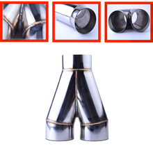 Car Y Shape 3.5' Inlet 3.5' Double Outlet Stainless Steel 3.5' Car Exhaust Tip Muffler Pipe Universal Exhaust System(China)