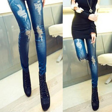 2017 Retro Lady Women Skinny Slim Distressed Stretchy Jeans Leggings Jegging Pants