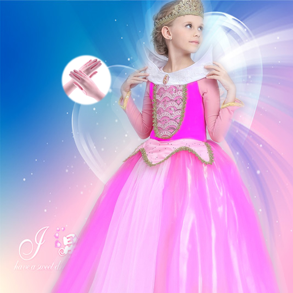 vestido infant Princess Girls Sleeping Beauty Dress Princess Aurora Pink Dress for Party Wedding Christmas Gift Free gloves <br>