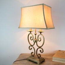 Nordic iron + cloth table lamps senior hotel villa living room bedroom bedside retro style home lighting table lights ZA